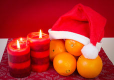Seasonally Xmas composition with orange Royalty Free Stock Photo