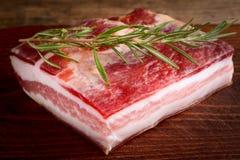 Seasoned bacon - pancetta stagionata Stock Image