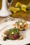 Seasoned beef tartare Stock Photos