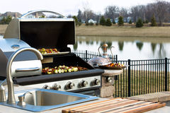 Outside Kitchen Barbeque Stock Photos