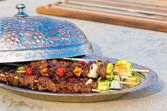 Beef Skewers with Vegetables Royalty Free Stock Photos