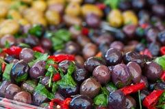 Seasoned black olives Royalty Free Stock Image
