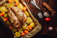 Seasoned chicken breast baked in oven. With vegetables on baking sheet royalty free stock photo