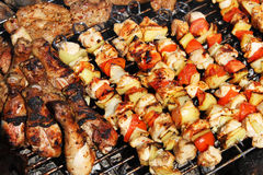 Seasoned chicken skewers. Tasty seasoned seasoned chicken skewers/ kebap/ souvlaki, and chicken legs on a barbecue Royalty Free Stock Photo