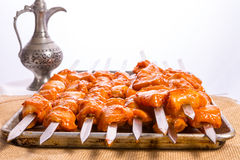 Seasoned Chicken Skewers Ready to Grill Stock Images