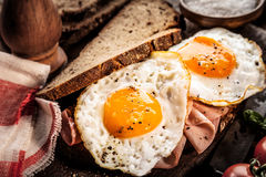 Seasoned fried eggs and ham on whole grain bread Royalty Free Stock Photography