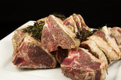 Seasoned frozen lamb chops Royalty Free Stock Photos