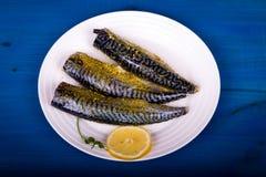 Seasoned mackerel with lemon Stock Images