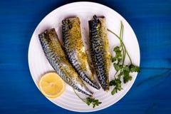 Seasoned mackerel with lemon Royalty Free Stock Photography
