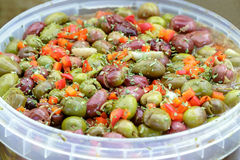 Seasoned olives background. Andalusian Style. Stock Photo