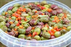Seasoned olives background. Andalusian Style. Seasoned olives background. Andalusian Style Stock Photo