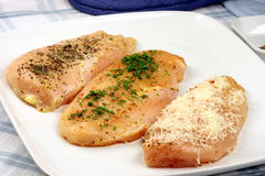 Seasoned organic  chicken breast Royalty Free Stock Photos
