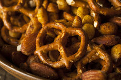 Seasoned Pub Snack Mix. With Nuts and Pretzels Stock Photo