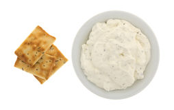 Seasoned rosemary and olive oil crackers with dip Royalty Free Stock Photography