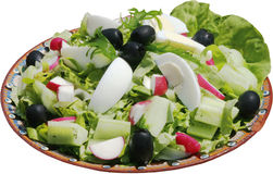 Seasoned salad with vegetables, eggs, cucumbers and herbs Royalty Free Stock Image
