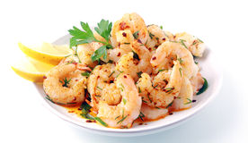 Seasoned savory pink prawns Stock Photography