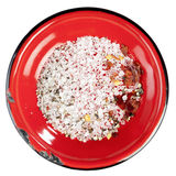 Seasoned sea salt in enamel red plate Stock Images