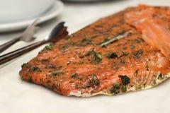 Seasoned smoked salmon with lemon slices Stock Photos