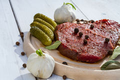 Seasoned steak ready to grill Royalty Free Stock Images