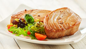 Seasoned Tuna Steaks on Plate with Fresh Salad. Close Up Still Life of Two Fried Tuna Steaks on Square White Plate with Seasoning and Fresh Green Salad with royalty free stock image