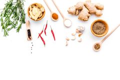 Seasoning background. Dry spices near ginger, garlic, rosemary, chili on white background top view copy space. Seasoning background. Dry spices near ginger Royalty Free Stock Photography
