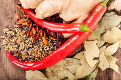 Seasoning concept - Assortment of fresh and dry spices on wooden stock images