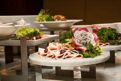 Seasoning condiments salads on buffet line Stock Image