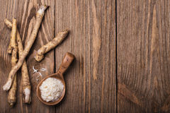 Seasoning of grated horseradish. With space for text Royalty Free Stock Image