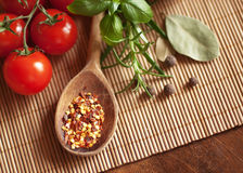 Seasoning herb. Tomato, rosemary, basilic lavr and wooden spoon with spices on a wooden table Royalty Free Stock Image