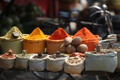 Seasoning of India. Main bazar in Delhi in India, seasoning on the street Royalty Free Stock Images