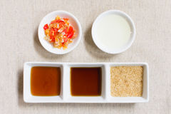 Seasoning or Ingredient of Thai Food. Granulated Sugar and Soy a Royalty Free Stock Photos