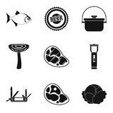 Seasoning for meat icons set, simple style. Seasoning for meat icons set. Simple set of 9 seasoning for meat vector icons for web isolated on white background Royalty Free Stock Image
