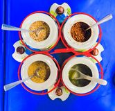 Seasoning. Menu spices chili sugar ground peanuts vinegar Royalty Free Stock Image