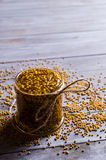 Seasoning from mustard seeds Stock Photography