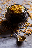 Seasoning from mustard seeds Stock Photo