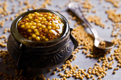 Seasoning from mustard seeds Royalty Free Stock Photography