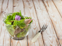 Seasoning salad and fork Stock Photography