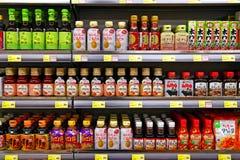 Seasoning sauces at supermarket Stock Photos