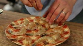 Seasoning Shrimp stock video footage
