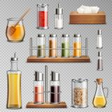 Seasoning Spices Realistic Set Transparent. Seasoning spices herbs kitchen racks cooking oil carafe  sugar dispenser and honey jar realistic set transparent Royalty Free Stock Photography