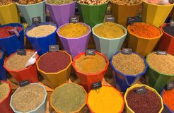 Seasoning, spices and herbs in pots for sale - Kemer, Turkey Stock Photos