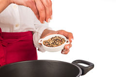 Seasoning with pepper grains Royalty Free Stock Image