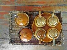 Seasoning. Thai style seasoning on wood table Royalty Free Stock Image