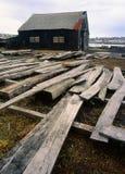 Seasoning timber, Boatyard, France Stock Images