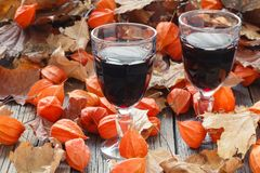 Seasoning wine in glass. Red Leaf on table Stock Photos