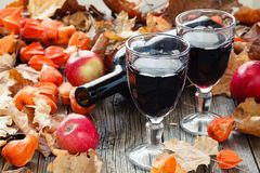 Seasoning wine in glass. Red Leaf on table Royalty Free Stock Photo