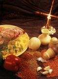 Seasonings for preparation of meat dishes. Components seasonings used at creation for preparation of meat dishes Royalty Free Stock Photography
