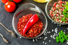 Seasonings and spices with tomato and olive oil Stock Images