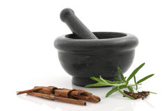 Seasonings and stone mortar Stock Image