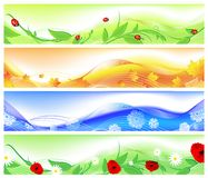 Seasons. Horizontal four seasons web banners. Summer, autumn, winter and spring Stock Images